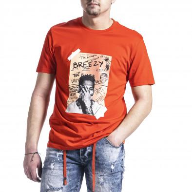 Мъжка тениска цвят корал с принт tr270221-45 2