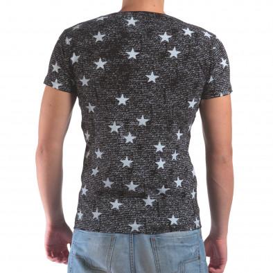 Мъжка черна тениска със звезди и надписи il210616-14 3