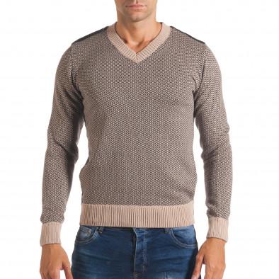 Мъжки бежов пуловер с фигурална плетка it170816-8 2