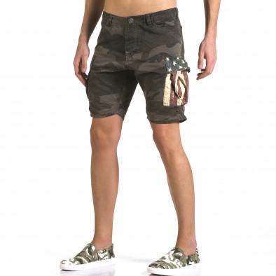 Мъжки къси панталони тъмно зелен камуфлаж it110316-55 4