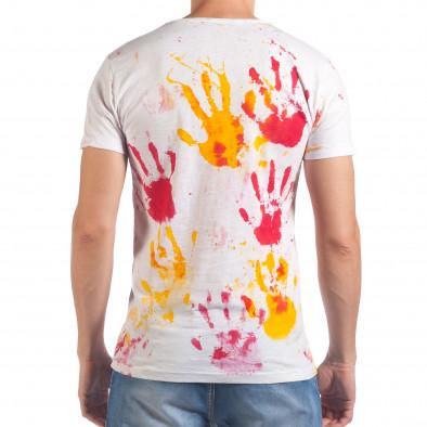 Мъжка бяла тениска с жълти и червени отпечатъци il060616-48 3