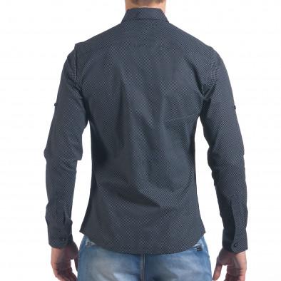 Мъжка черна риза с малки кръстчета il060616-119 3
