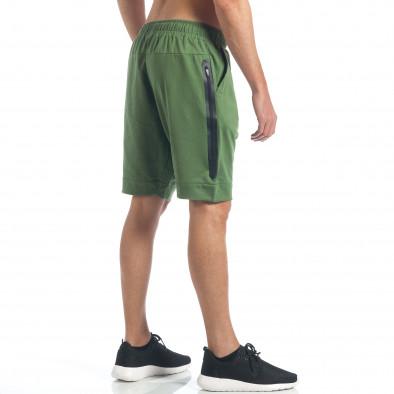 Мъжки зелени шорти с декоративен цип it190417-17 4