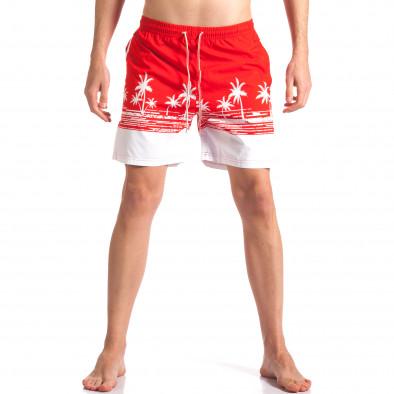 Мъжки червени бански с принт палми Austar Jeans 4