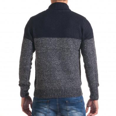 Мъжки син зимен пуловер с копче на яката it170816-32 3