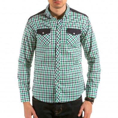 Мъжка зелено-синьо-бяла карирана риза il180215-181 2