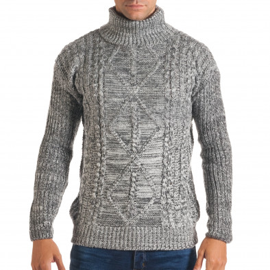Мъжки сиво-бял зимен пуловер с поло яка it170816-24 2