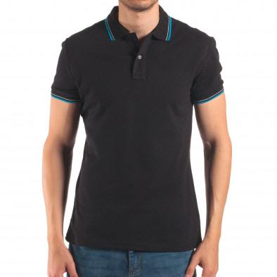 Мъжка черна тениска с яка със син и бял кант it150616-34 2