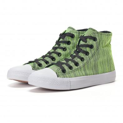 Мъжки високи зелени кецове на фино черно райе it250118-15 3