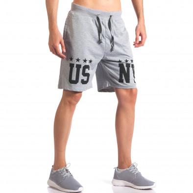 Сиви мъжки шорти за спорт с надпис US NY it260416-19 4
