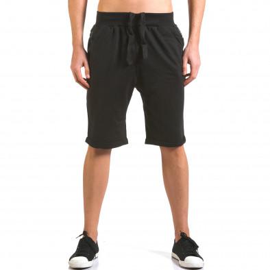 Мъжки черни шорти с кожени детайли it160316-22 2