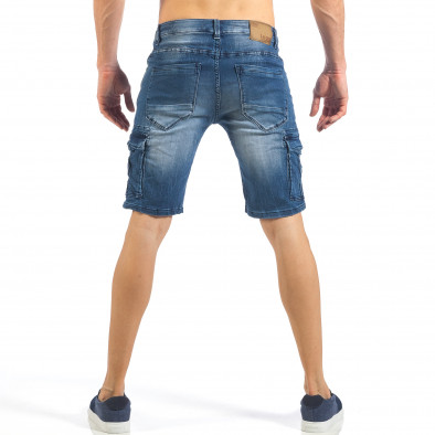 Мъжки къси карго дънки с кадифен ефект в синьо it260318-119 4