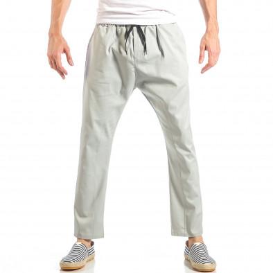 Мъжки свободен панталон в сиво с ластик it040518-18 2
