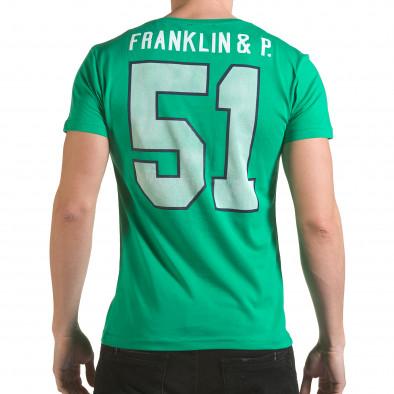 Мъжка зелена тениска с кръгъл принт отпред il170216-9 3