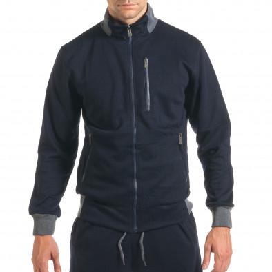 Мъжки син спортен комплект с декоративен цип it160916-78 4