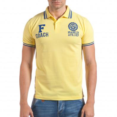 Мъжка жълта тениска с яка F Coach il060616-106 2