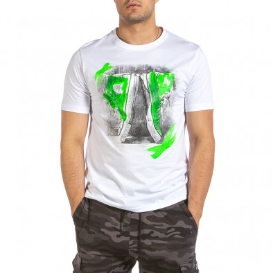 Мъжка бяла тениска с графичен принт it240621-9 2