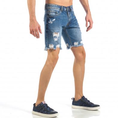 Мъжки непоръбени къси дънки в синьо it260318-123 4