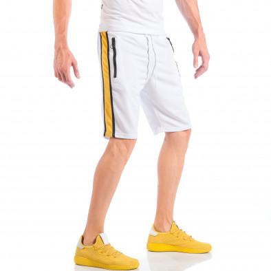 Бели мъжки шорти с контрастни ивици и ципове на джобовете it050618-29 3
