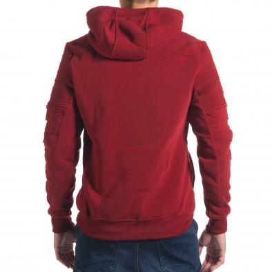 Мъжки червен суичър с декоративни скъсвания на ръкавите it240816-77 3