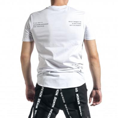 Мъжка бяла тениска с декоративен шев tr270221-40 3