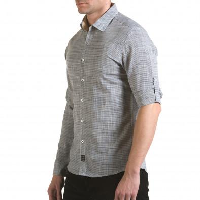Мъжка сива риза изчистен модел Buqra 5