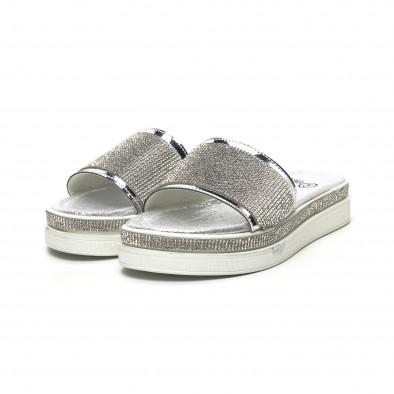 Дамски сребристи чехли с камъчета tr180320-3 3