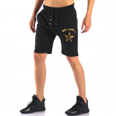 Мъжки черни шорти със златна звезда it160616-12 4