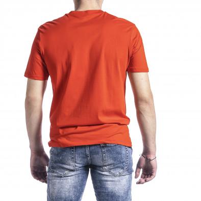 Мъжка тениска цвят корал с принт tr270221-45 3
