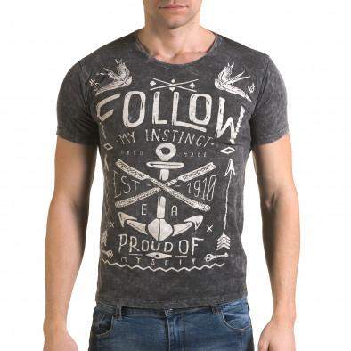 Мъжка сива тениска с надпис Follow Lagos 4