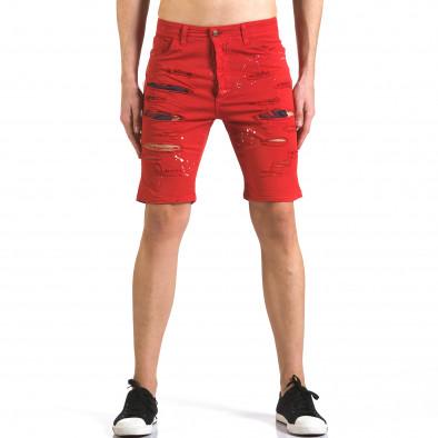 Мъжки червени къси дънки с пръски боя QBR 5