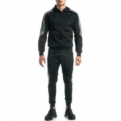 Мъжки черен анцуг с кантове it020920-21 3