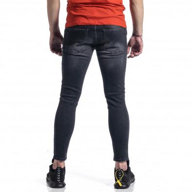 Мъжки черни дънки с леки прокъсвания tr270221-4 3