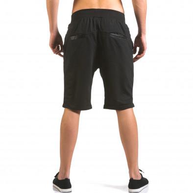 Мъжки черни шорти с кожени детайли it160316-22 3