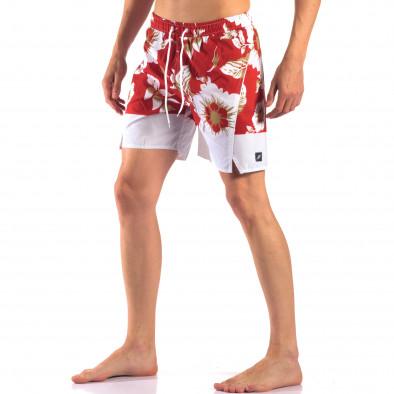 Мъжки червени бански с бели цветя it150616-21 4