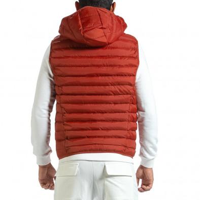 Basic капитониран елек с качулка в керемидено червено it070921-21 4