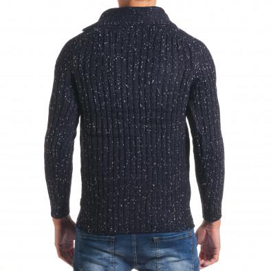 Мъжки син зимен пуловер с малки бели точки it170816-50 3