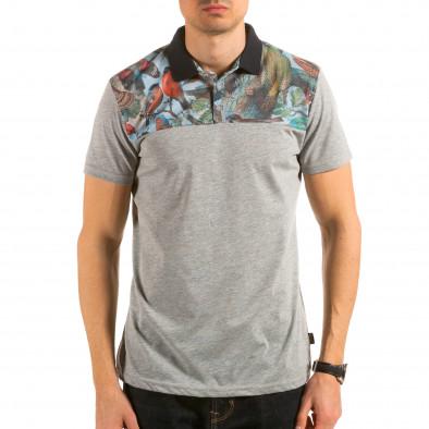Мъжка сива тениска с яка с птици на гърдите il180215-102 2