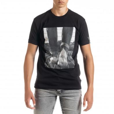 Черна мъжка тениска с принт tr010720-32 2