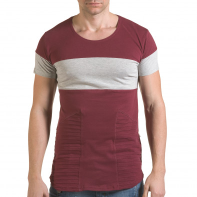 Мъжка червена тениска със сива лента il170216-75 2