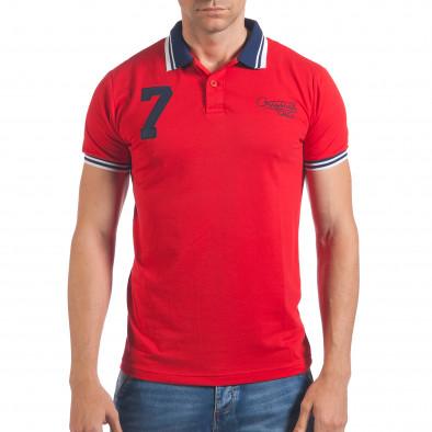Мъжка червена тениска с яка със син номер 7 il060616-101 2