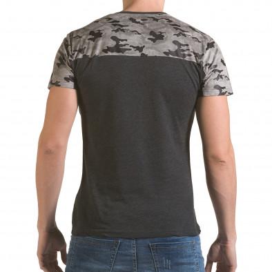 Мъжка сива тениска с камуфлажна част на раменете il170216-46 3
