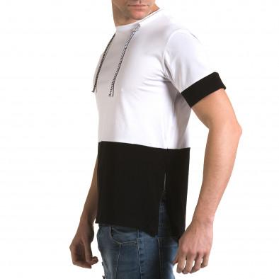 Мъжка бяла тениска с черна долна част it090216-70 4
