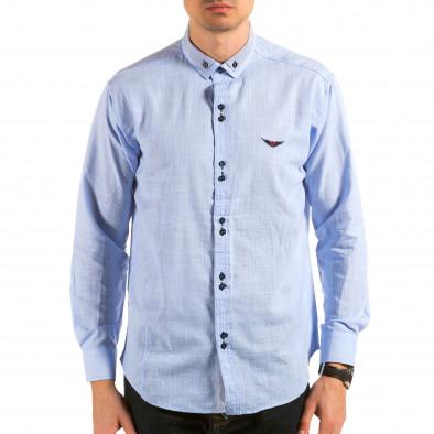 Мъжка синя риза с раирана яка il180215-172 3