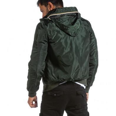 Мъжко зелено яке с прибираща се качулка it070921-28 4