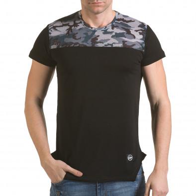 Мъжка черна тениска с камуфлаж на раменете il170216-52 2