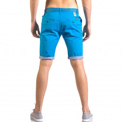 Мъжки светло син  къс панталон с плетен колан ca050416-56 3
