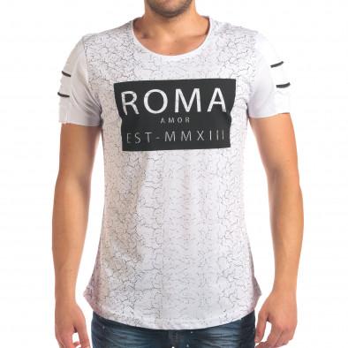 Мъжка бяла тениска с надпис и скъсвания на ръкавите il210616-9 2