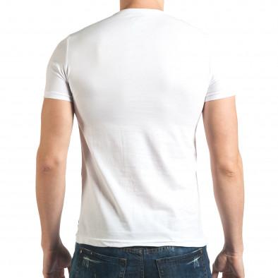 Мъжка бяла тениска с гъзарски надпис отпред il140416-17 3