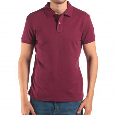 Мъжка червена тениска с яка изчистен модел it150616-37 2